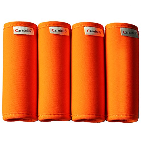 Wrap Luggage Tag (Careteilly Neoprene Luggage Handle Wrap And Tags Fluorescent Orange Luggage Identifiers Travel Luggage grip Wraps)