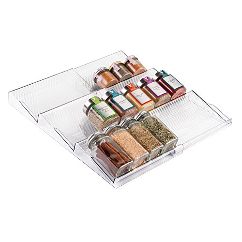 Fresh Herb Towels (mDesign Adjustable, Expandable Spice Rack Drawer Organizer Tray Insert for Kitchen Cabinet Drawers - 3 Slanted Storage Shelves - Garlic, Onion, Cinnamon, Salt - BPA Free, Food Safe - Clear)