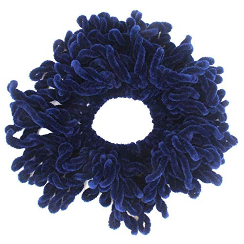 AHAYAKU Flexible Rubber Band Simple Hijab Volumizing Scrunchie Large Hair Bow Headwear Navy