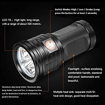 Battery Not Included Water-Resistant 7200LM 3 Modes Super Bright Tactical Torch with USB Input /& USB Output for Camping Gift-giving Hiking Emergency SecurityIng USB Rechargeable 18 LEDs Flashlight
