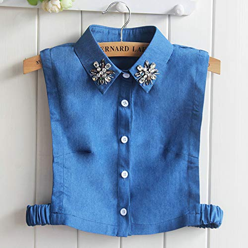(Women Lapel Peter Pan Sweater Shirt Tie Collar Rhinestone Crystal Bead Faux Detachable False Denim Jeans Cotton Fake Collar Picture7)