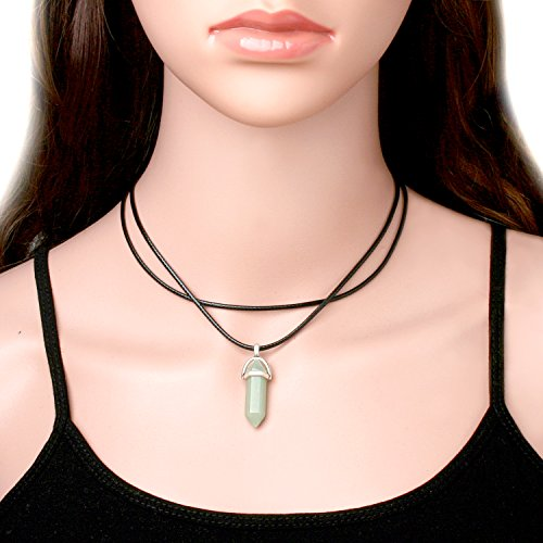 Cougar's Choice® Quartz Crystal Necklace for Women Gemstone Necklace Double Layer Black Leather Choker with Adjustable Chain (Green)