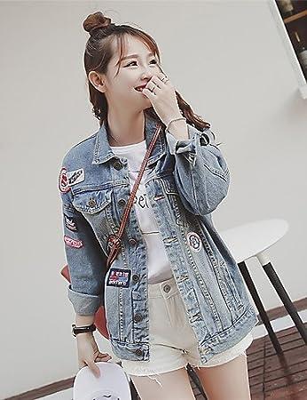 1cd0ecb561d Fengyi Ga Ga Damen Druck Einfach Street Schick Ausgehen Lässig Alltäglich  Jeansjacken