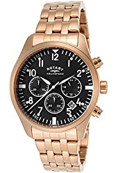Rotary Men's Aquaspeed Chronograph Black Dial Rose Gold Tone Ion Plated Stainless Steel
