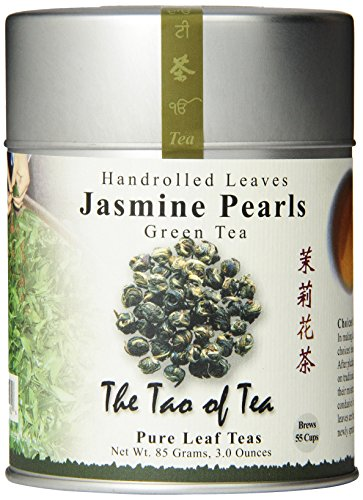 The Tao of Tea, Handrolled Jasmine Pearls Green Tea, Loose Leaf,  4 Ounce Tin