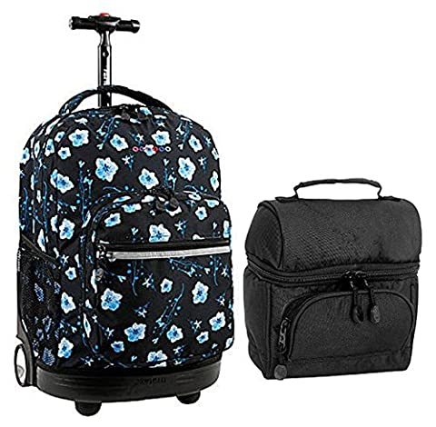 Josherly Combo Rolling Backpack & Lunch Bag Back to School Bundle Set Sunrise / Corey Poppy Pansy - Pansy Messenger