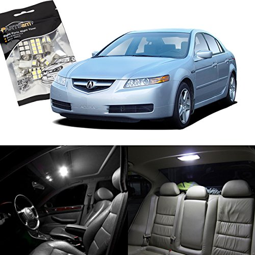 Partsam Acura TL 2004 2005 2006 2007 2008 White Interior LED Package Kit + License Plate Lights (12 Pieces)