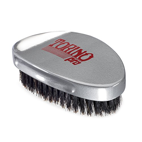 Torino Pro Medium Wave Brush #530 By Brush King - Curve Palm Wave Brush - Made with 100% Boar Bristles -True Texture Medium - All Purpose 360 Waves Brush