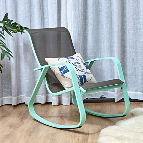 (Grand Patio Modern Swing Rock Chair Glider with Macaron Blue Aluminum Frame, Indoor/Outdoor )