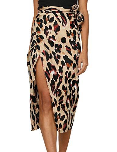 OUNAR Women's Waist Knot Leopard Print High Waist Wrap Split Skirt (US L, Leopard)