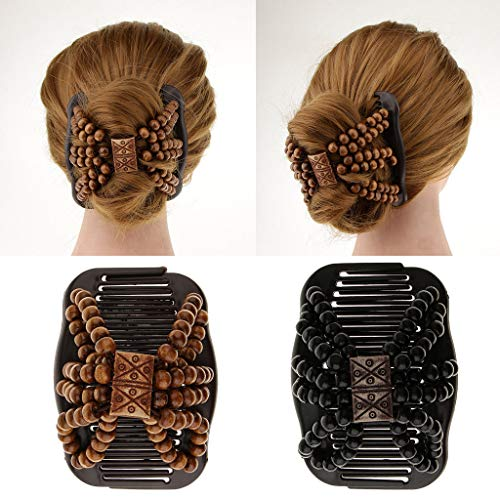 2x Double Hair Comb Stretchy Hair Styling Combs Clips Hair Jewelry for Decor