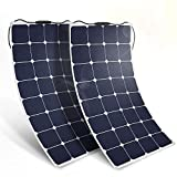 BougeRV 2PCS 100W 18V 12V Solar Panel Charger ETFE SunPower Cell Solar Power Flexible Ultra Thin with MC4 Connector Charging for RV Travel Trailer Van Truck Car SUV Pontoon Boat Cabin