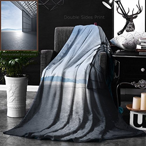 Ralahome Unique Custom Double Sides Print Flannel Blankets Aircraft Hanger Door Open Car Stage D Illustration Super Soft Blanketry for Bed Couch, Twin Size 60 x 70 Inches ()