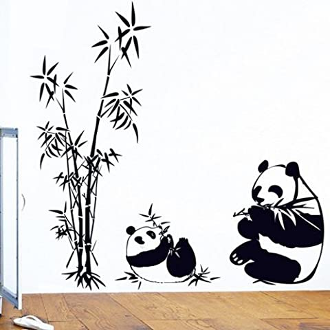 BIBITIME Black&white Mother Baby Pandas Eating Bamboos Wall Stickers Decor for Bedroom Vinyl Decals - Bamboo Wall Decals