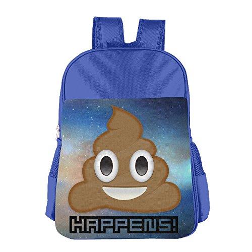 JXMD Custom Poop Happens Children Shoulders Bag For 4-15 Years Old RoyalBlue