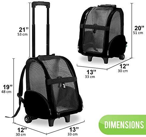 Mochila de viaje de lujo para mascotas con ruedas dobles color negro aprobado por la mayoría de aerolíneas 2