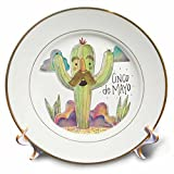 3dRose Sven Herkenrath Celebration - Cinco de Mayo Drawing of a Funny Cactus - 8 inch Porcelain Plate (cp_281654_1)