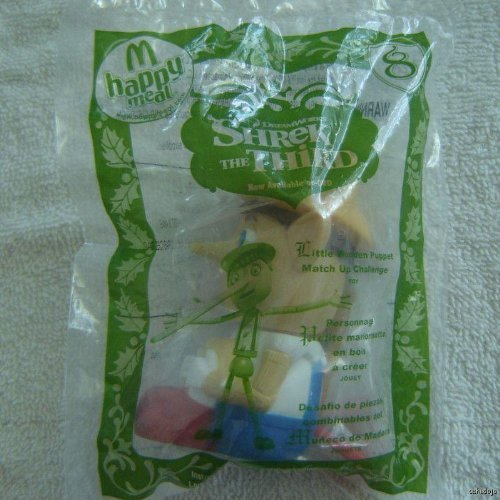 2007 McDonalds Happy Meal Toy Dreamworks : Shrek The Third (Shrek 3) #8 Little Wooden Puppet Match Up Challenge Game