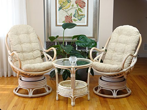 (3 PC Java Swivel Rocking Chair Natural Handmade Rattan Wicker White Wash Set: 2 Lounge Arm Chairs with White Cushions and Pelangi White WashCoffee Table)