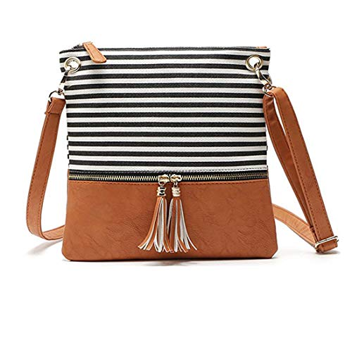 Crossbody Shoulder Bag,Messenger Bag Handbag with Double Zipper for Women Lady Girls by Ubags (Black Stripe) by Ubags