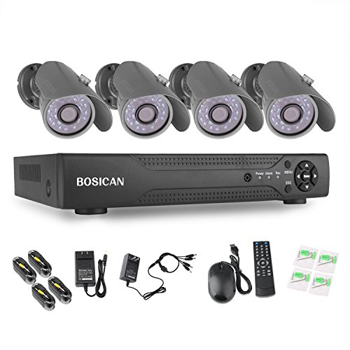 BOSICAN 8CH Surveillance DVR Kits with 4 Bullet Surveillance Cameras HD Security System 4 Indoor/Outdoor Waterproof 1000TVL Night Vision Security Cameras Support Smartphone View Remote Access by BOSICAN