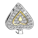 Long Way 925 Sterling Silver Poker Ace Design Love Heart Cubic Zirconia Charms
