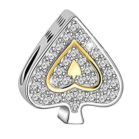 Long Way 925 Sterling Silver Poker Ace Design Love Heart Cubic Zirconia Charms - Glistening Heart