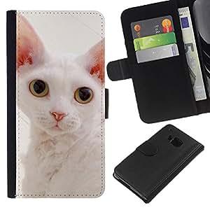 White Devon Rex Big Ears Cat Pink Nose - la tarjeta de Crédito Slots PU Funda de cuero Monedero caso cubierta de piel HTC One M7