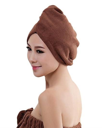 Juego toallas de microfibra ultra absorbentes para secar pelo, turbante con aro elástico, para todos los estilos de pelo café OneSize: Amazon.es: Ropa y ...