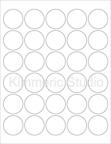 (6 SHEETS) 180 1-1/2 INCH (1.5) ROUND CIRCLE WHITE MATTE STICKERS FOR LASER PRINTERS. Size: 8-1/2'X11' STANDARD SHEETS LABELS