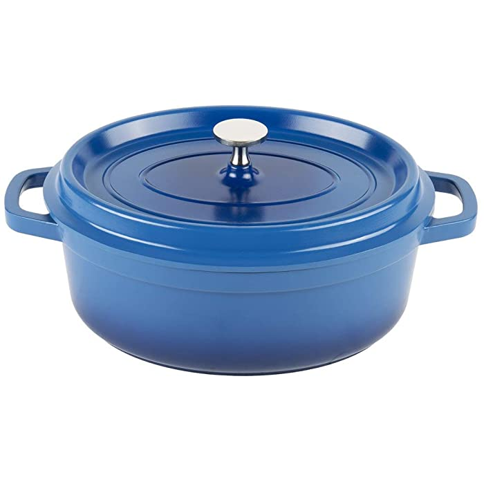 Heiss CA-009-CB/BK Cast Aluminum Dutch Oven, 3.5 Quart, Oval, Blue