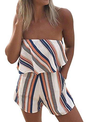 Sheshares Women Floral Strapless Romper Off Shoulder Jumpsuit Slash Neck Overall Sleeveless-Orange (Orange Jumpsuit Buy)