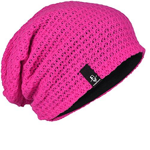 Hombre Punto para Hot Pink Verano Larga de Gorra FORBUSITE Slouchy Oversize Beanie Invierno para 5fxqngdA0