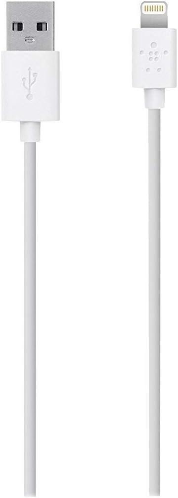 Belkin MIXIT - Cable de Lightning a USB con certificación MFi para iPhone 11, 11 Pro, 11 Pro Max, XS, XS MAX, XR, X, 8/8 Plus y Otros (1,2 Metros), Blanco