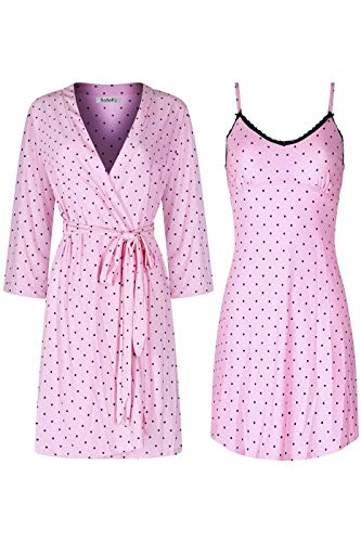 (SofiePJ Women's Printed Chemise and Robe 2 Piece Sleepwear Set Light Pink L)
