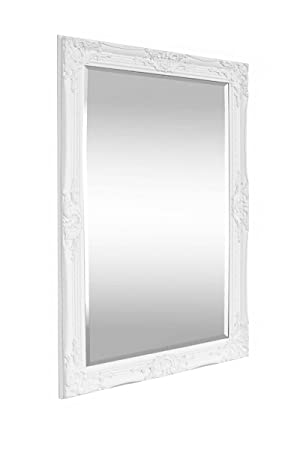 mirror 60 x 90. solid wood - shabby chic wall mirror large 90 x 60 cm white