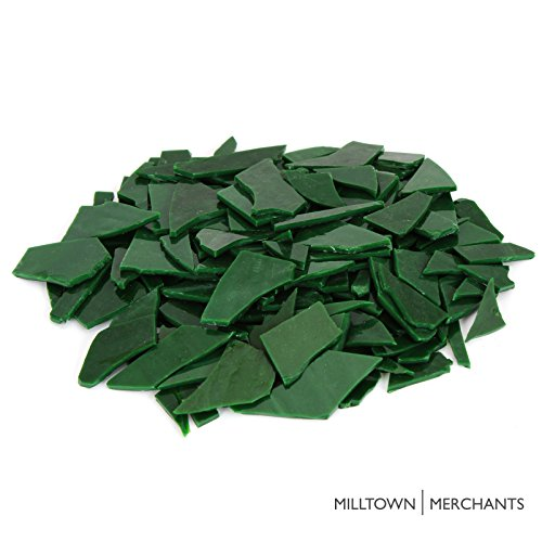 Milltown MerchantsTM Dark Green Stained Glass Pieces 1 lb - Opaque Stained Glass Cobbles - Broken Glass Chips for Stepping Stones and Crafts - Bright Color Glass Coblets ()