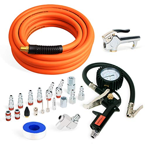 FYPower 22 Pieces Air Compressor Accessories kit, 3/8 inch x 25 ft Hybrid Air Compressor Hose Kit, 1/4' NPT Quick Connect Air Fittings, Tire Inflator Gauge, Heavy Duty Blow Gun, Swivel Plugs