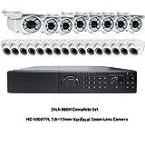Amview 24ch HD full 1080P HD 4-in-1 DVR HD 2.8-12mm Varifocal Zoom 72IR & 36IR OSD CCTV Surveillance Security Camera System