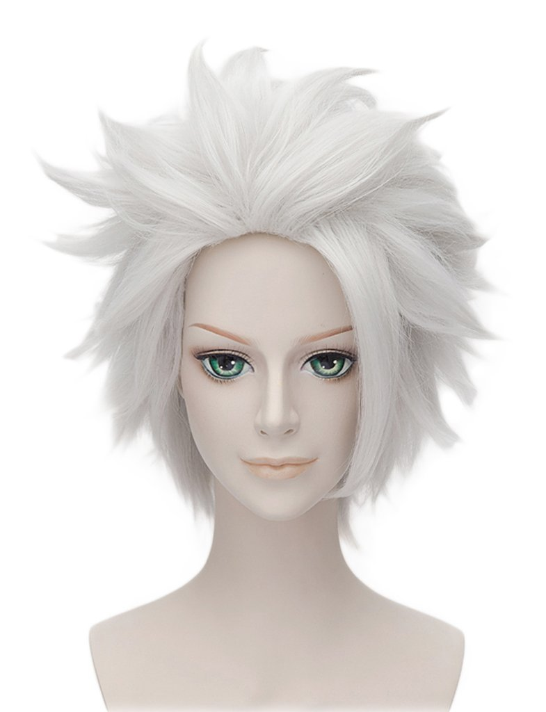 HH Building Anime Short Layered Cosplay Wig Halloween Party Silvery White Hair