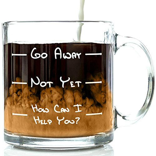 Go Away Funny Glass Coffee Mug 13 oz - Unique Birthday Gift For Men & Women, Him or Her - Best Office Cup & Valentines Day Present Idea For Mom, Dad, Husband, Wife, Boyfriend, Girlfriend or Coworkers