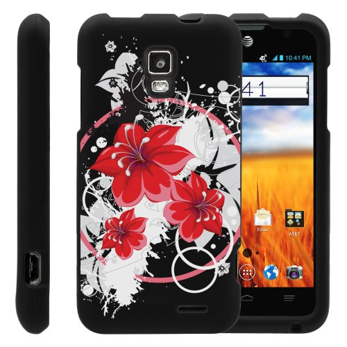 MINITURTLE, Slim Fit Graphic Design Image 2 Piece Snap On Protector Hard Phone Case Cover, Stylus Pen, and Clear Screen Protector Film for AT&T Prepaid GoPhone Android Smartphone ZTE Mustang Z998 (Splattering Blossom)
