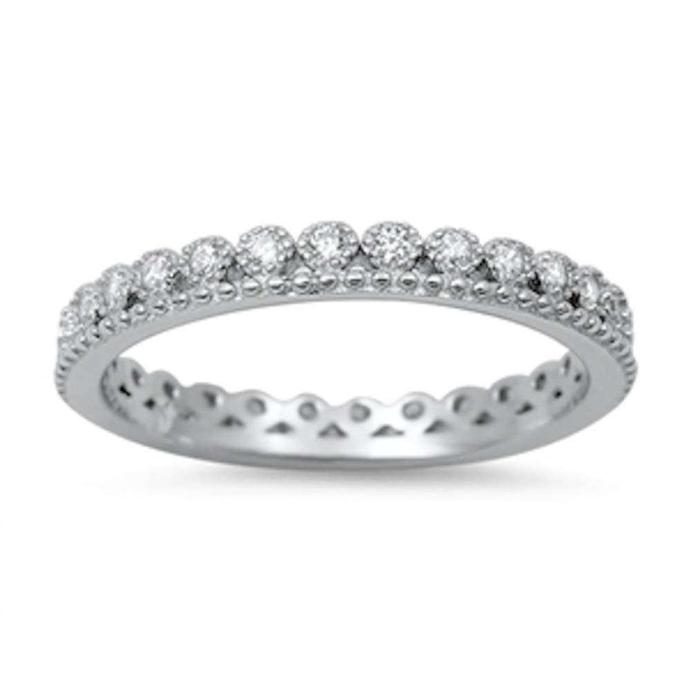 Brightt Crown Cubic Zirconia Eternity Band .925 Sterling Silver Ring Sizes 4-10