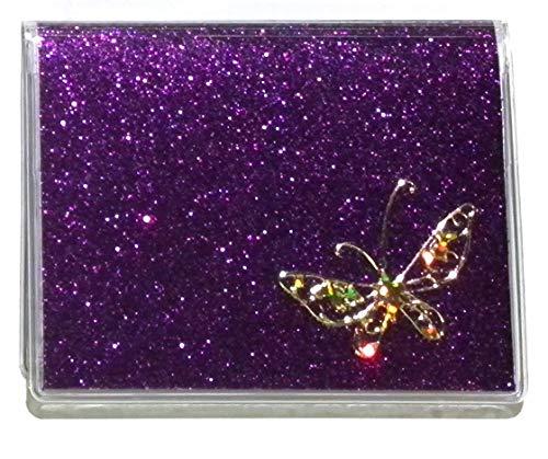 RFID Protected Purple Butterfly Debit Card Holder w/Register & Photo Insert
