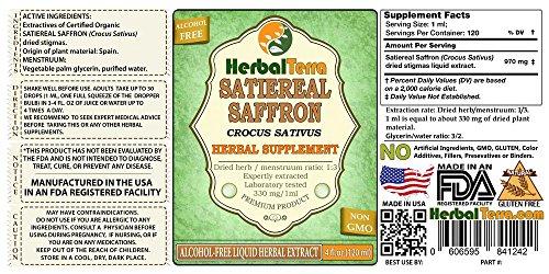 Satiereal Saffron (Crocus Sativus) Tincture, Organic Dried Stigmas Liquid  Extract 2 oz