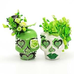 Til Death Do Us Part Skull Wedding Cake Toppers A00110 Skull Day of Dead Wedding Skull Lover Cake toppers Ceramic Handmade Mexican Sugar Skulls