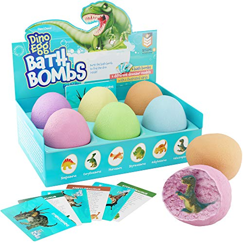 Dino Egg Bath Bombs with Surprise Inside for Kids - Dinosaur in Each Fizzy - 6 Pack - Includes Learning Cards - Kids Bath Bombs with Toys Inside - Kid Fizzies - Great Science Gifts for Girls & Boys