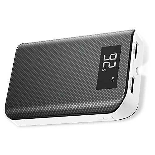 Power Bank X-DRAGON 6000mAh Portable Charger Backup Battery Power Pack with LCD Digital Display, Dual 5V2.4A Outputs, Flashlight Compatible with iPhone 8 X 7 Plus, Tablet and More