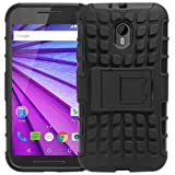 SDO Rugged Dual Layer Kickstand Warrior Case Back Cover For Moto G 3Rd Gen- Black With Clear Screen Guard + Nano Sim Adapter + Micro Usb Otg Cable + Touch Pen