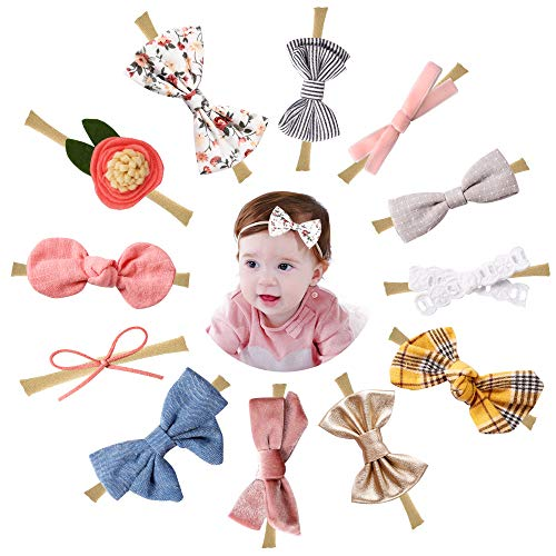 Baby Girl Headbands and Bows, Nylon Hairbands Hair Accessories for Newborn Infant Toddler Girls ()
